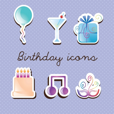 Sweet little icons set, on blue background. Stock Vector - 17350816