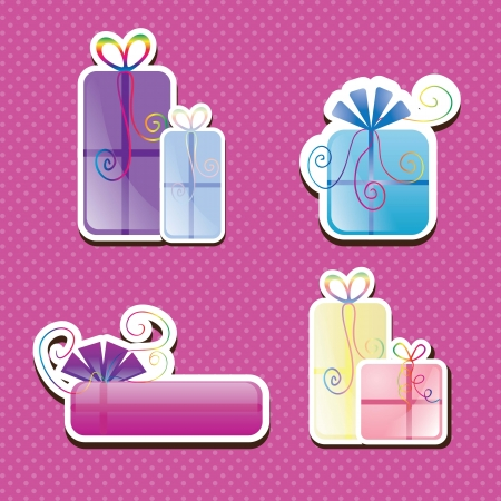 Sweet birthday presents collection on little points background. Vector illustration Stock Vector - 17350811