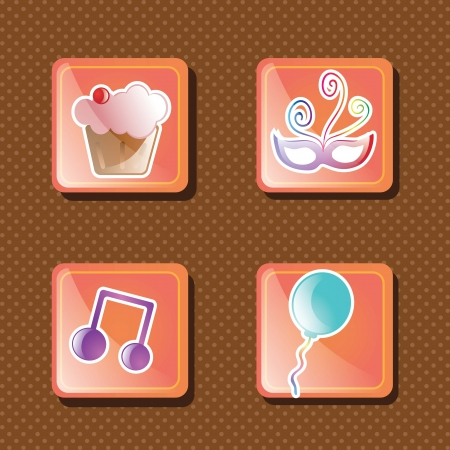 Icons for celebrate birthday, on brown background Vector