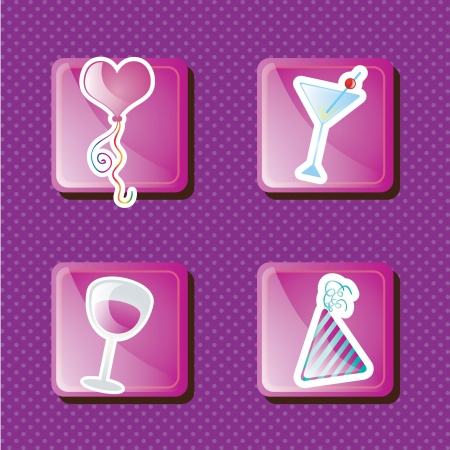 Icons for celebrate birthday, on violet background Vector