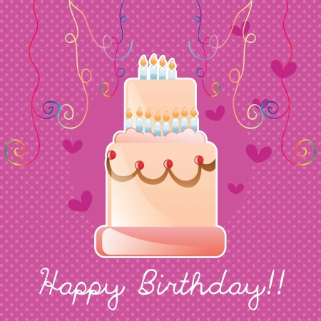 Happy Birthday cake card, with ribbons. Vector illustration Stock Vector - 17350825