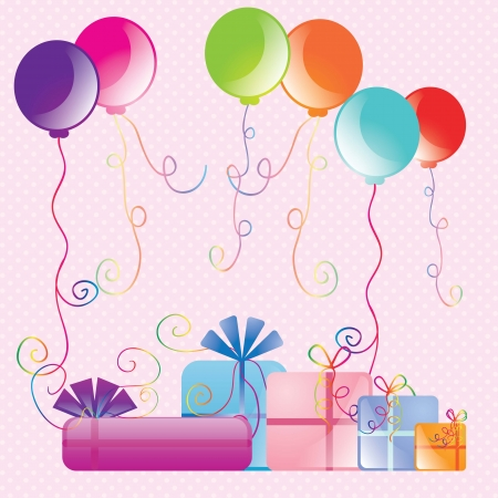 Colorful Birthday balloons with presente, card. Vector illustration Stock Vector - 17351076