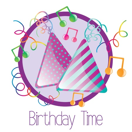 Celebrate birthday hats, with musical notes. On white background Stock Vector - 17350768