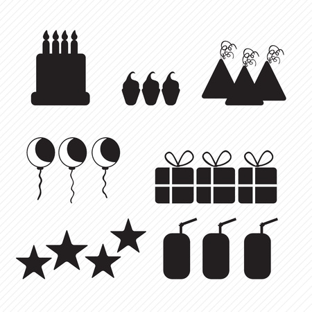 Birthday icons silhouettes, cake, cupcakes, and hats. Vector illustration Stock Vector - 17350599