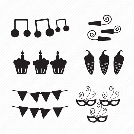 birthday icons silhouettes musical notes, vector illustration. Stock Vector - 17350612