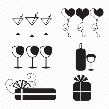 birthday icons silhouettes of cupcakes, balloons, presents. vector illustration Stock Vector - 17350581