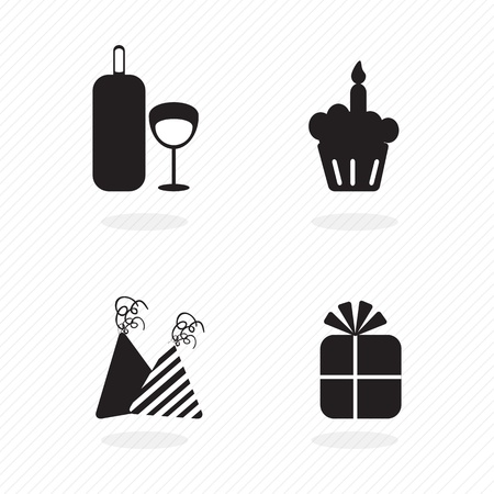 birthday icons silhouettes of hats, cupcake and wine. vector set Stock Vector - 17350583