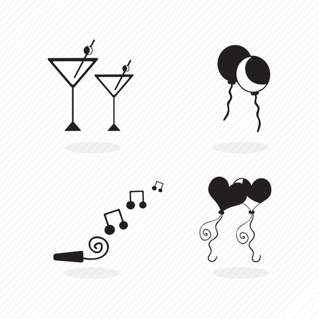 birthday icons silhouettes of balloons, musical notes and others elements Stock Vector - 17350582