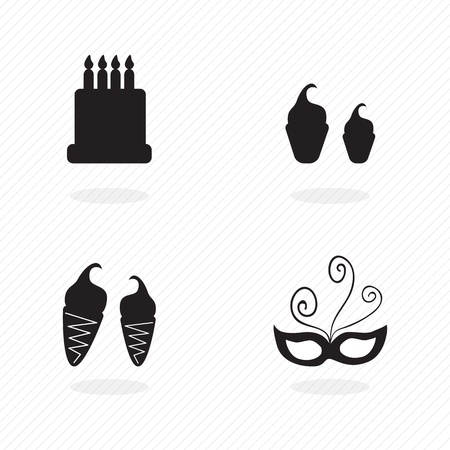 birthday icons silhouettes on grey stripes background. Vector set Stock Vector - 17350579