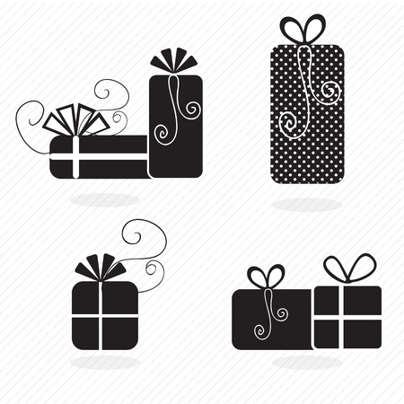 birthday icons silhouettes set of gifts. Vector illustration Stock Vector - 17350605