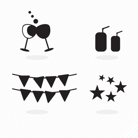 birthday icons silhouettes, stars, drinks and other shapes. vector illustration Stock Vector - 17350577