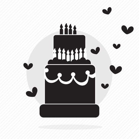 Birthday cake silhouette, with hearts and candles. Vector Illustration Vector