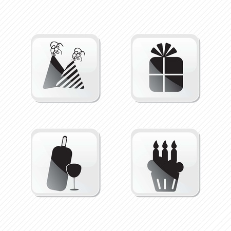 birthday glass effect icons silhouettes. Vector illustration Stock Vector - 17350672