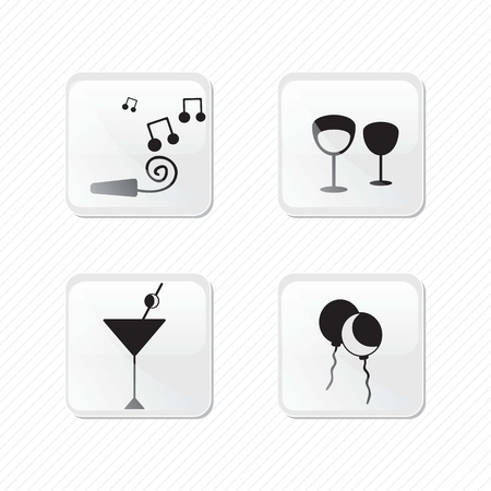 Birthday glass effect icons silhouettes. Vector illustration Stock Vector - 17350614