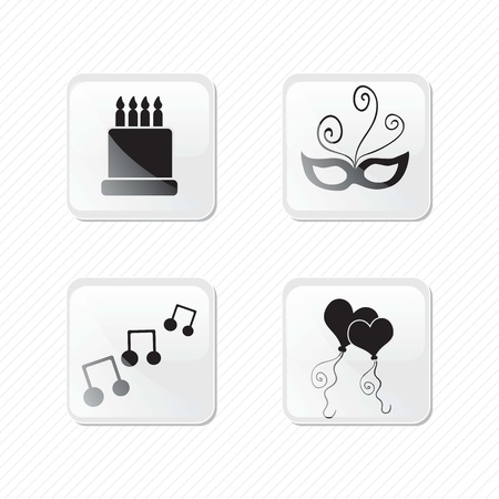 Birthday glass effect icons silhouettes of cake, balloons, mask, musical notes.Vector illustration Stock Vector - 17350673