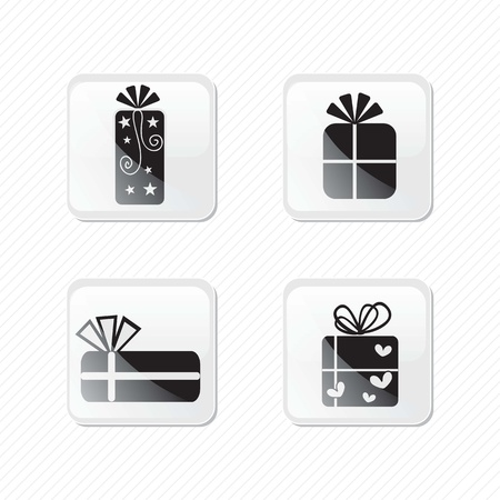 Birthday glass effect icons silhouettes of four presents.Vector illustration Stock Vector - 17350676