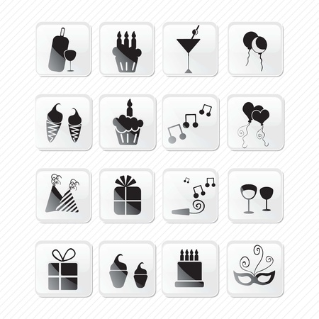 Birthday glass effect icons silhouettes.Vector illustration Stock Vector - 17350812