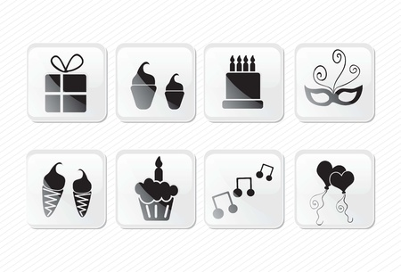 Birthday glass effect icons silhouettes, present, cake, mask, cupcake.Vector illustration Stock Vector - 17350740