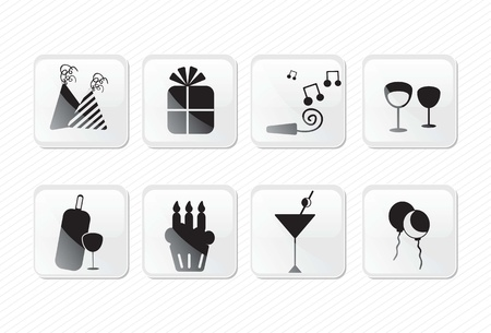 Birthday glass effect icons silhouettes, present,cocktail, cupcake.Vector illustration Stock Vector - 17350705