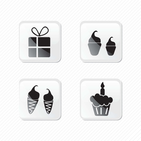 Birthday glass effect icons silhouettes, 
