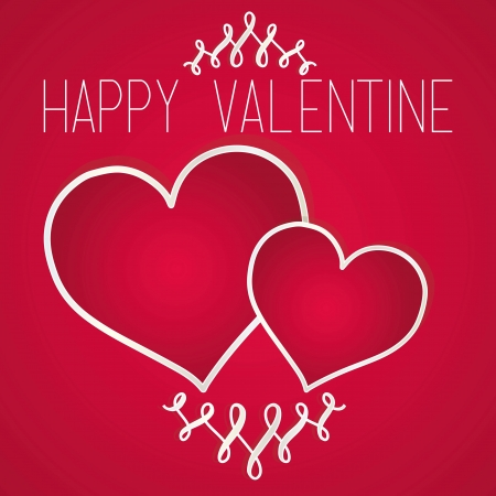 Happy valentine card, red background. Vector illustration Stock Vector - 17350674