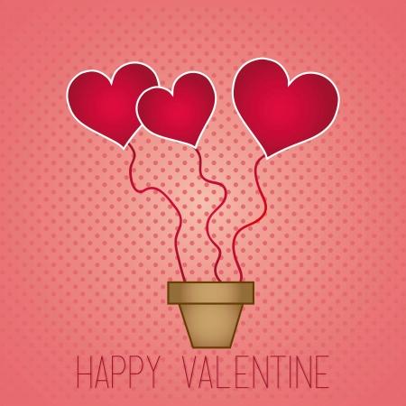 Happy Valentine,s day balloons, vintage background Stock Vector - 17350741