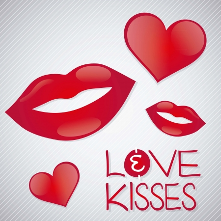 lips kiss: Love and kisses, Valentine`s day on silver background.
