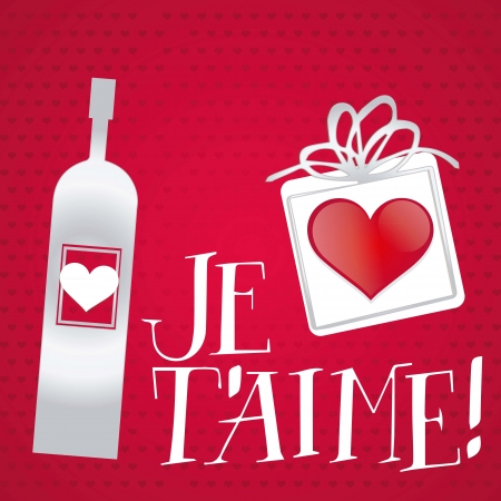 Je t'aime, Valentines day card, vector background. Stock Vector - 17350813