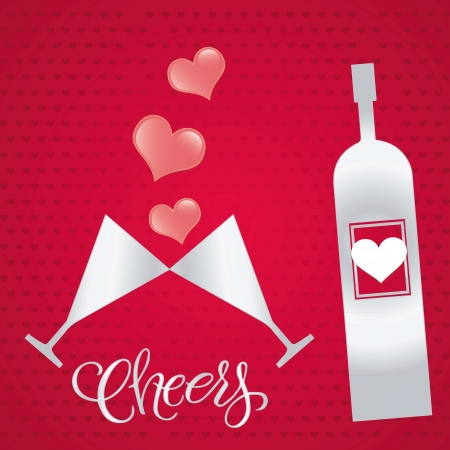 Crystal glasses with wine on red background. Vector