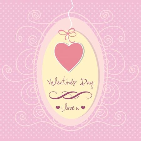 beautifu: Beautifu heart, hanging over pink background. Vector Illustration