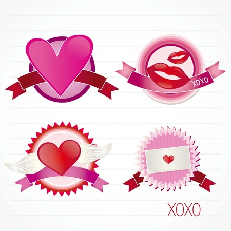 Valentine`s day labels on paper background Stock Vector - 17351055