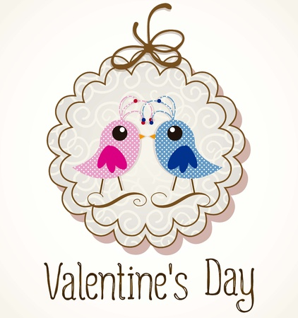 Valentines Day birds in love label. Vector illustration Stock Vector - 17350765