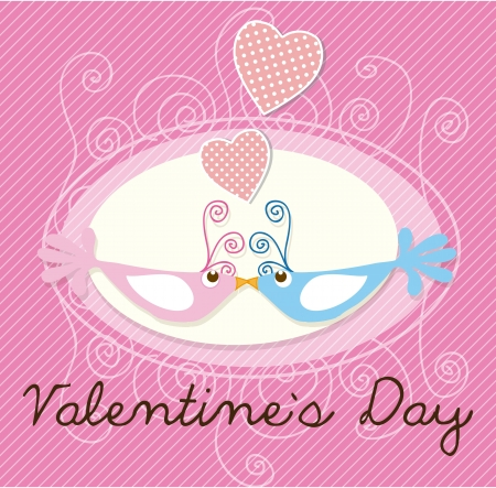 Valentines Day birds on pink background. Vector illustration Stock Vector - 17350773