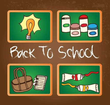 Back To school Icons on chalkboard. Vector illustration Vector