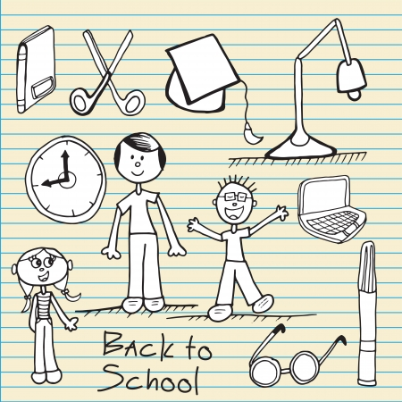 dialer: Back to school icons on notebook paper Illustration