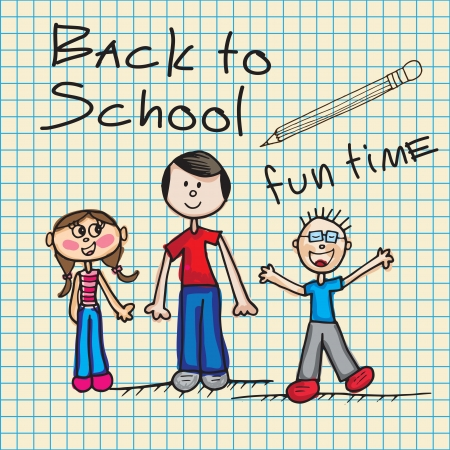Back To school Icons with children vector illustration Stock Vector - 17350680