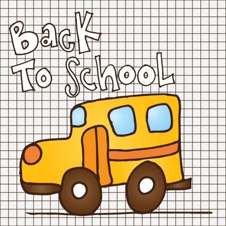 Back to school yellow bus on grid. Vector illustration Stock Vector - 17350618