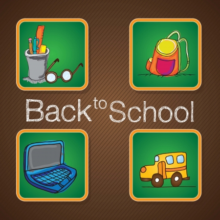 Back To school elements on chalkboards. Vector illustration Stock Vector - 17350815