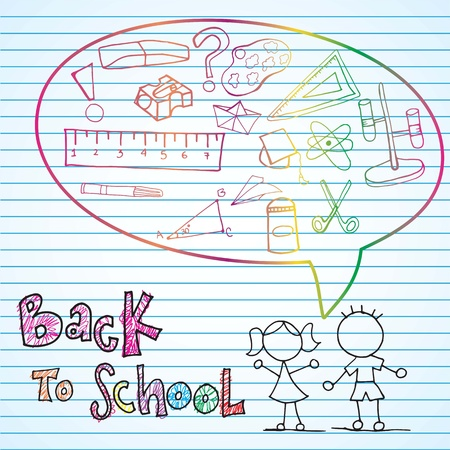 Back to school draws with beatiful colors Illustration