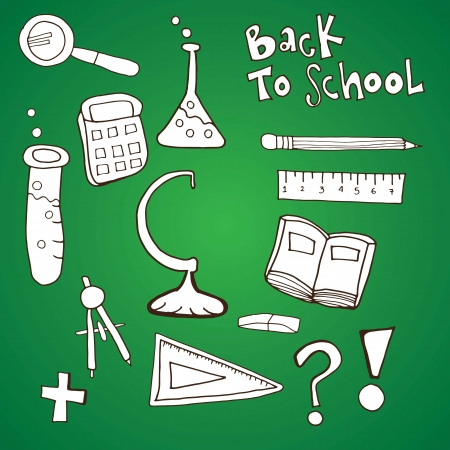 Back to School science icons on green background. Vector