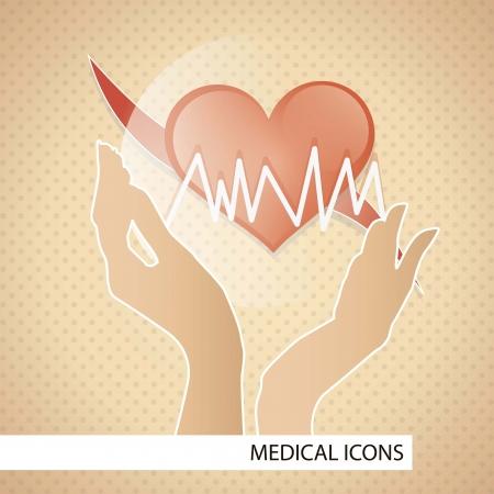 Medische pictogrammen over bruine achtergrond vector illustratie
