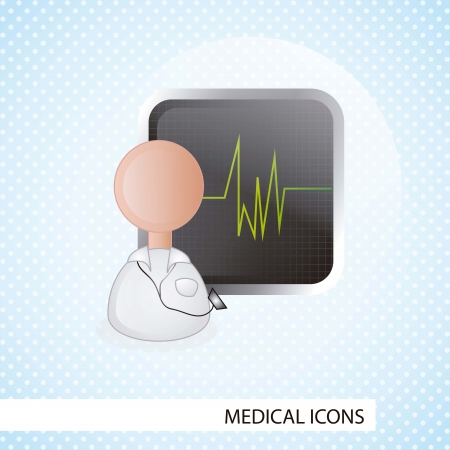 ampule: Medical icons over blue  background vector illustration Illustration