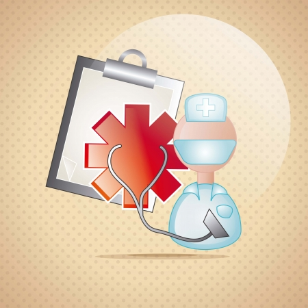 ampule: Medical icons over brown  background vector illustration