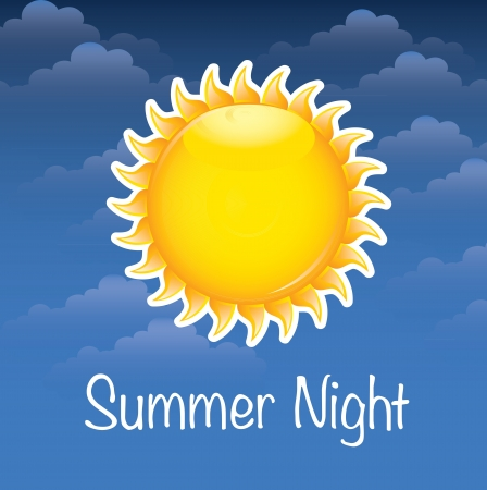 summer night with big sun over sky background Stock Vector - 17427666