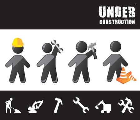 herramientas de construccion: los hombres de la construcci�n con bajo construcci�n ilustraci�n vectorial herramientas