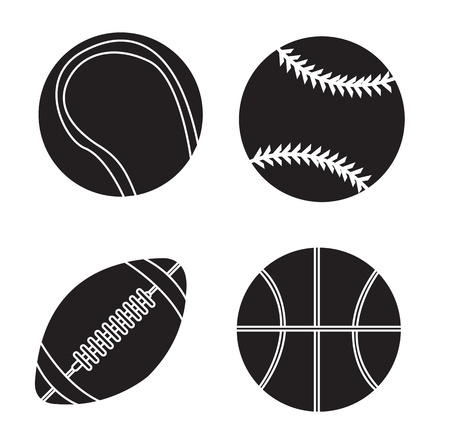 Sport balls silhouettes over white background vector illustration Vector