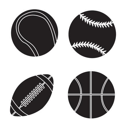 Bolas Deporte siluetas sobre fondo blanco ilustración vectorial