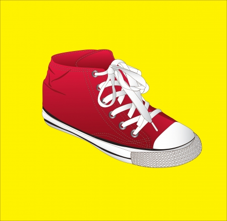 tennis shoes: red snickers over yellow background vector illustration