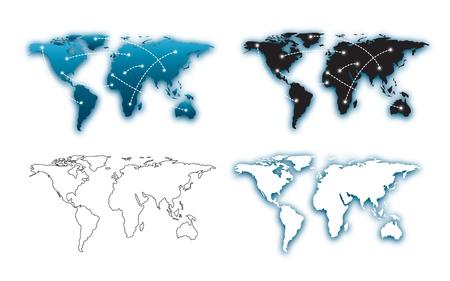 set of maps over white background vector illustration Stock Vector - 17428367