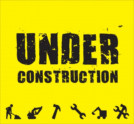 under construction tools over yellow background Stock Vector - 17427815